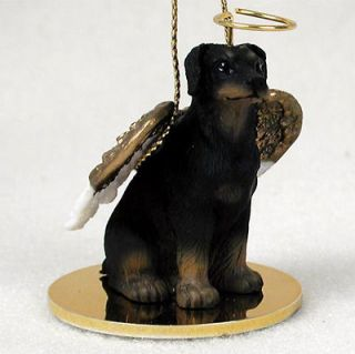 Doberman Pinscher Dog Figurine Angel Statue Hand Painted Black Uncro