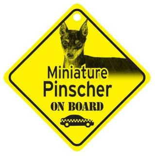 miniature pinscher min pin on board dog car window sign