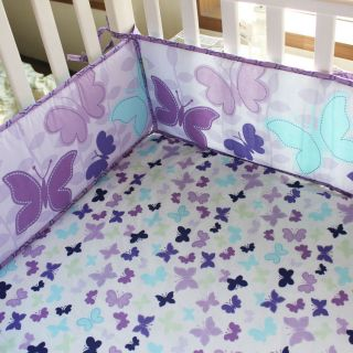 Butterly Purple 4pcs Baby Girl Crib Bedding Set Quilt Bumper Sheet