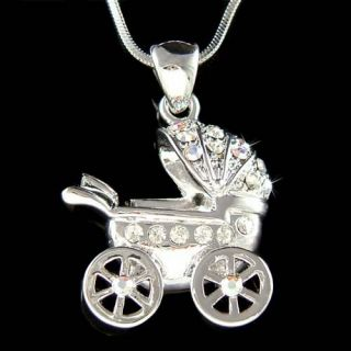 Swarovski Crystal ~Newborn Baby Carriage Stroller Pendant Necklace