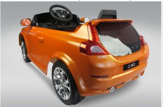 orange volvo ride on toy battery operated car for kids