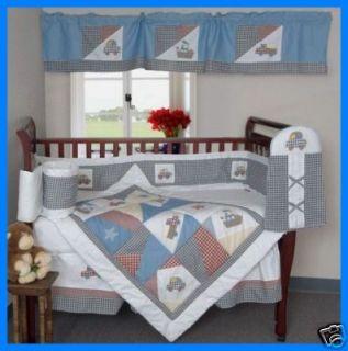 New 6P Baby Boys Crib Bedding Transport Quilt Set
