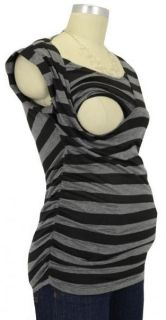 New Japanese Weekend Sexy Black Gray Striped Tie Back Knit Nursing Top