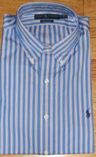 Mens Polo Ralph Lauren Blue Striped Dress Shirt Size Med LRG US 15 5