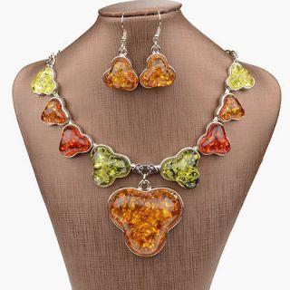 Baltic Nature Amber Gallant Gem VTG Silver Necklace Pendant Earring