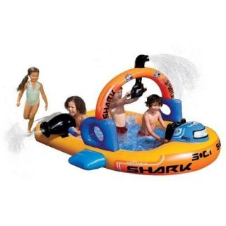Banzai Aqua Explorer Submarine Inflatable Sprinkling Kids Pool New