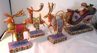 Jim Shore Christmas Santa Sleigh, Delivering Joy w/3 Dash Away