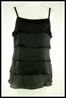 BCX  Size M Black Tiered Ruffle Front Sleeveless Tank Top Shirt