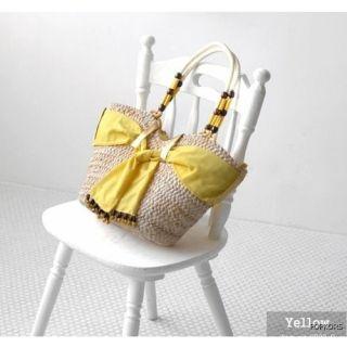 Ribbon Beads Straw Shopper Tote Beach Shoulder Bags Handbags
