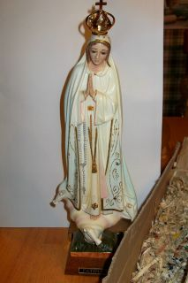 VTG CATHOLIC religion STATUE BLESSED VIRGIN MARY FATIMA w box CROWN