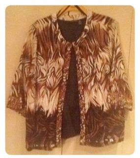 Womens Plus Size Maggie Barnes animal print suit jacket   3x