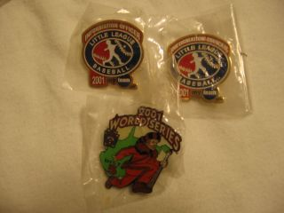 Three 2001 Little League Baseball WORLD SERIES Tournament Pins Unused