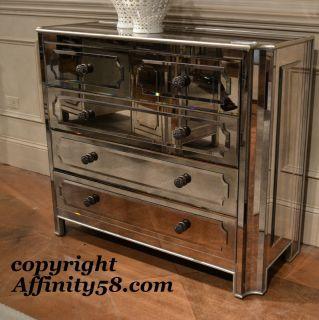 Silver Mirrored Hall Chest 5 Draw Dresser T2000 766 Bassett Mirror