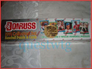 1991 Donruss Baseball Collectors Box Set w Cards Puzzle Mint New Box