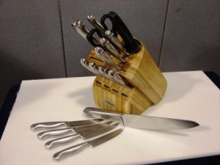 Farberware 17 Piece Stainless Steel Cutlery Set with Butcher Block