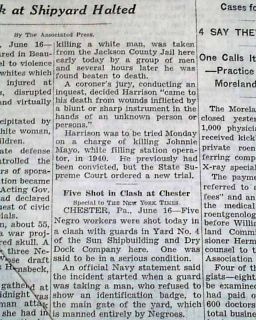 MARIANNA FL Negro Lynching & Beaumont TX Texas Race Riots 1943 WWII