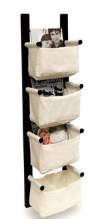 of Wall Mounted Magazine Storage Rack   Espresso Finish/canvas Baskets