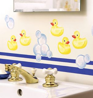 Bubbles 25 Wallies Yellow Rubber Ducks Duck Bath Stickers Decal Border