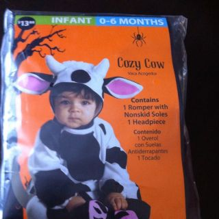 Kids Halloween Costume, Infant, 0 6 Months, Cow Outfit, Like New