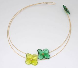 Baccarat 18kt Yellow Gold Hortensia Three Flower Necklace