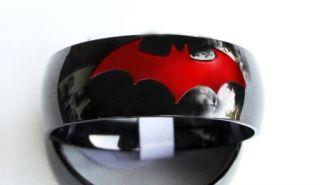 Steel Chrome Engraved Comic Batman Red Ring Black Friday Sale