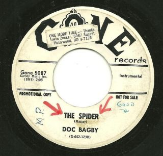 DOC BAGBY The Spider Pancake Hop 45 GONE Instrumental PROMO 1960