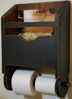 Antique Early Grain Scoop Bathroom Tissue Toilet Paper Magazine Rack