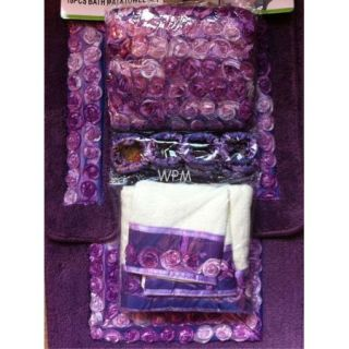 rug set purple ribbon flower bath rugs shower curtain & towels