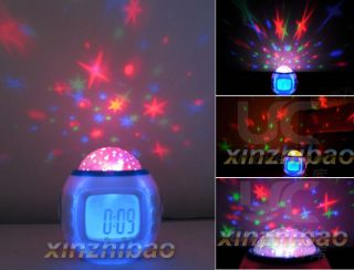 Sky Star Night Light Projector Lamp Bedroom Alarm Clock w Music