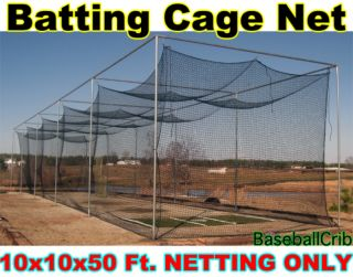 Baseball Softball Batting Cage Nylon Netting 10x10x50