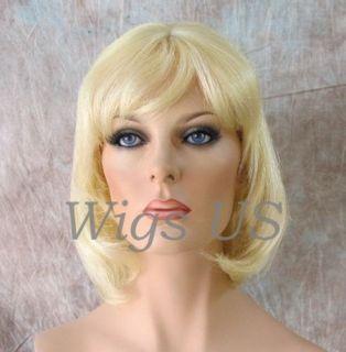 Hair Wigs 100 Real Human Hair Medium Bob Bangs Wig Blonde Brown