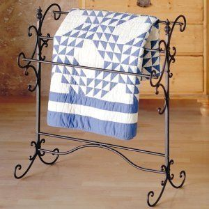 Scrolled Iron Quilt Rack Blanket Holder Display by SEI