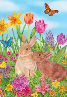 0581FL   Large Flag   Easter Bunnies and flowers   Spring Summer