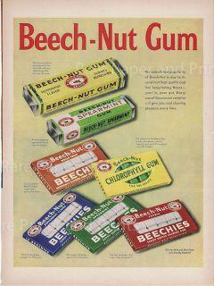 Sweet Beech Nut Chewing Gum Illustrated 1953 Vintage Original Print