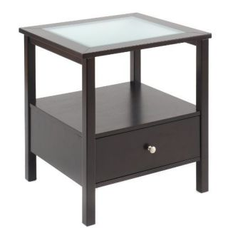 Bay Shore Collection F68301 End Table w Glass Top and Drawer Espresso