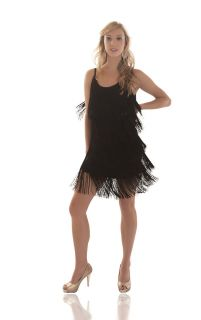 Fringe Flapper Dress 1920s Charleston Ladies Black New