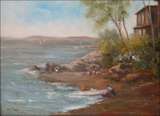Belfast Maine 12x16 original plein air oil painting Seascape Landscape