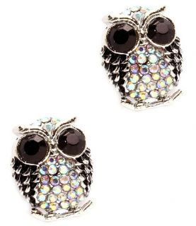 Big Eye Owl Earrings Black Amber Crystals BB Rhodium Studs Adorable