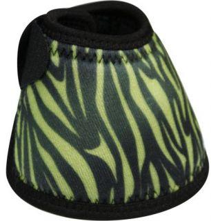Pair of Neoprene No Turn Horse Bell Boots w/ LIME GREEN/BLACK Zebra