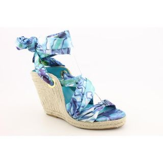 BCBGeneration Ruby Womens Size 8 5 Blue Open Toe Textile Wedge Sandals