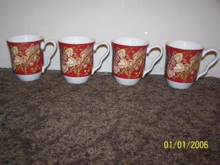 222 Fifth Gabrielle Red Coffee Mugs Set 4 Fine China