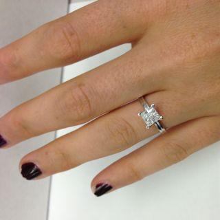 52 Ct Princess Cut Real vs Diamond Engagement Ring 14k White Gold