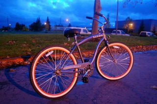 Mens Beach Bike Grey Red Rims Beach Cruiser 26 Wheel Bicycle