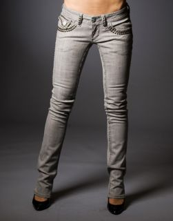 Laguna Beach Jeans Womens GGG Gray Denim w Studs Straight Sample