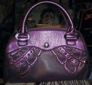 BCBG Paris girls purse handbag Purple Madame Butterfly Studded