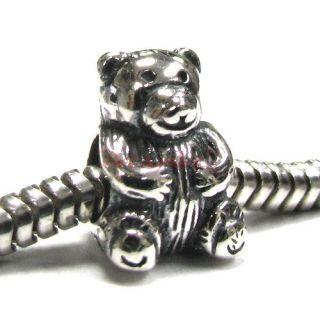 Silver Cute Teddy Bear Bead for European Charm Bracelet