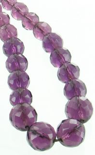 Antique Lovely Faux Amethyst Cut Crystal Bead Necklace