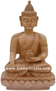 Hand Carved Wooden Buddha Sculpture Indian Exclusive Collectible