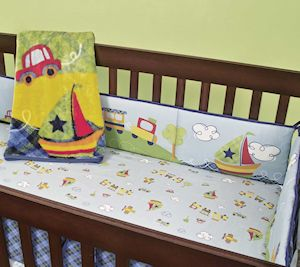 New Choo Choo Train Boat Cars Baby Boy 7pc Crib Nursery Set