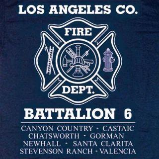 Los Angeles County Fire Dept Battalion 6 T Shirt M